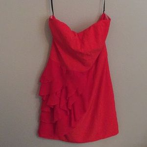 Red - orange strapless dress
